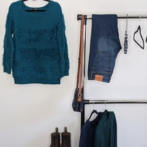 Spense Knits Teal Chunky Knit Fuzzy Sweater